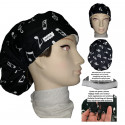 Surgical caps musical notes long hair absorbent strip, tensor
