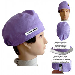 Surgical hats lila Absorbent strip and adjustment button