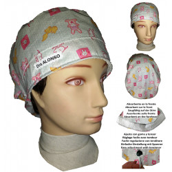 Woman surgery cap bunnies long hair absorbent strip and tensor