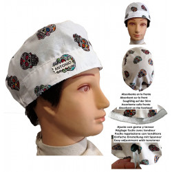 Surgical cap white man skulls mexican with name
