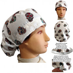 Surgical cap white woman skulls mexican with name