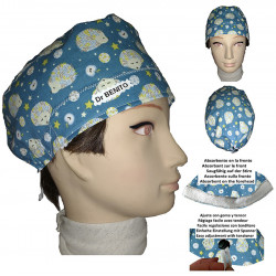 Surgical cap man hedgehogs for short hair with name