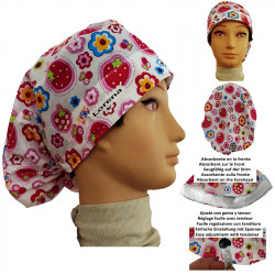 Cap for the operating room strawberries long hair absorbent strip and tensor