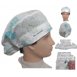 Surgery cap woman bears long hair nursing kitchen with name