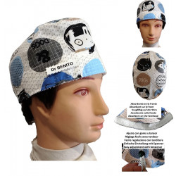 Surgical cap of blue man puppies for short hair with name