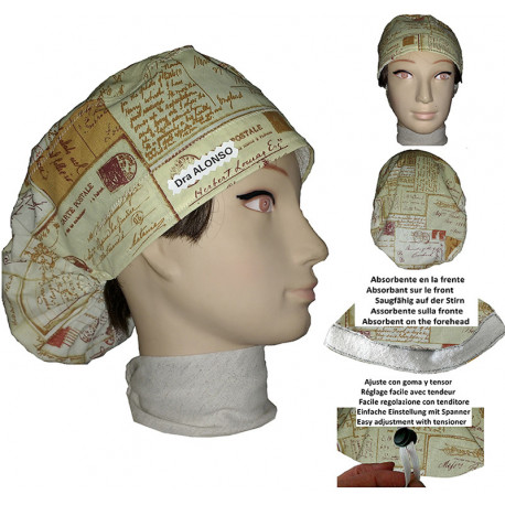 Surgical cap stamps long hair absorbent strip tensioner
