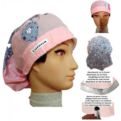 Surgical cap woman Butterfly kittens absorbent and tensor strip