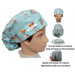Surgical cap long hair Puppies with Ties absorbent strip and tensor
