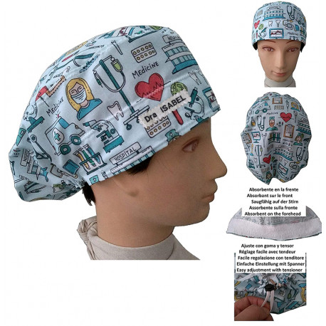 Cap for the operating room Long hair Medical instruments absorbent strip and tensor