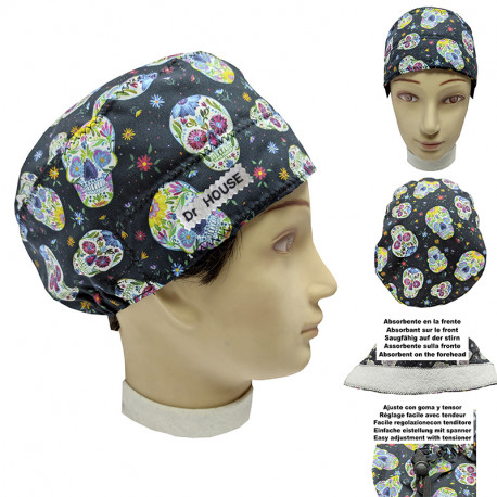 Surgical cap Mexican skulls man with name