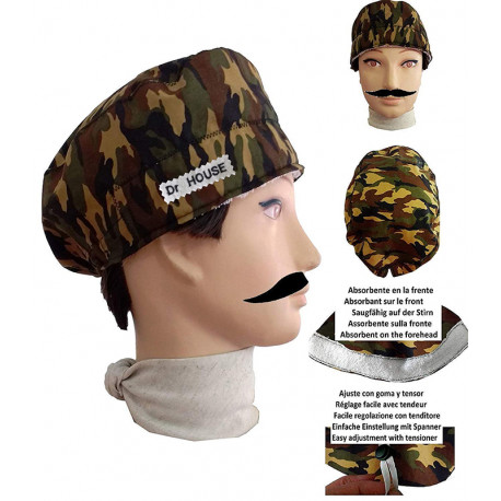 Surgical cap camouflage man for short hair with name