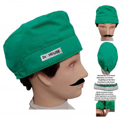 Surgical cap green man for short hair with name