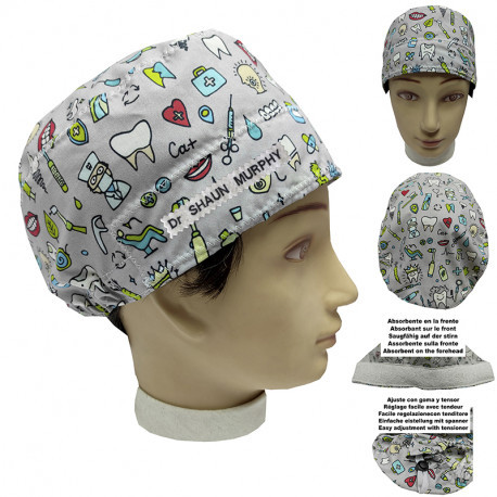 Hat of Dentist unisex instrumental dentist for short hair with name
