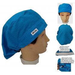 Surgical cap woman blue water long hair strip absorbent and tensor