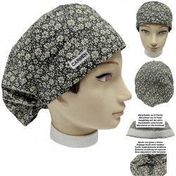 Surgical cap woman flowers long hair absorbent strip and tensor