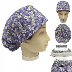 Surgical caps woman lilac flowers long hair absorbent strip and tensor