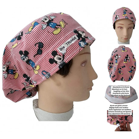 Surgical cap woman long hair Mickey Mouse absorbent strip and tensor