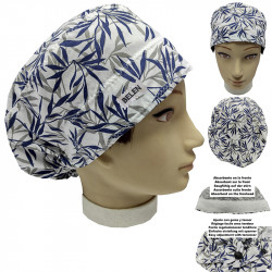 Cap for the operating room Long hair Bamboo LEAVES absorbent strip and tensor