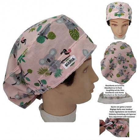 Hat for the operating room little Koala long hair absorbent strip and tensor