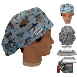 Surgical cap woman Sharks for long hair named