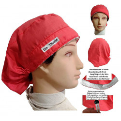 Surgical caps red for long hair with your name