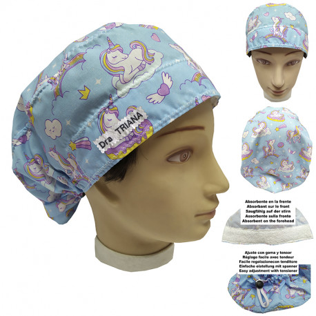 Surgical cap woman unicorns for long hair with your name