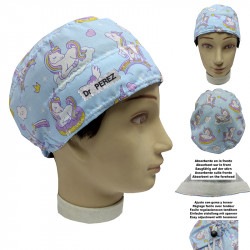 Hat operating room unisex Unicorns for short hair with your name