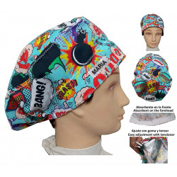 Surgical Cap BOOM long hair with absorbent strip. Adjustable