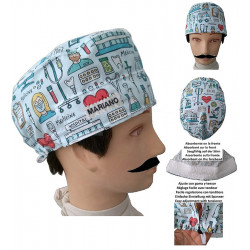 Cap for the operating room Medical instruments man for short hair with name