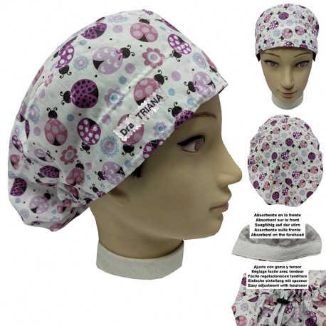 Surgical cap woman ladybugs long hair strip absorbent and tensor