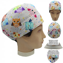 Man Operating Room Cap Owls Short Hair Doctor Veterinary Dental Surgeon With Absorbent On The Forehead