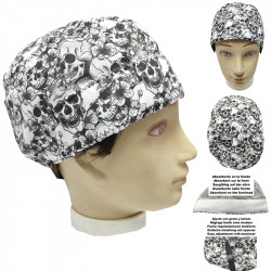 Operating Room Cap Unisex Black And White Skull Short Hair Medic Doctor Nurse Dentist Vet Cook