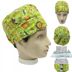 Operating Room Cap Jungle Green Short Hair Unisex Man And Woman Absorbent Towel On The Forehead, Easy