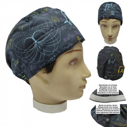 Operating Room Cap Unisex Mathematical Formulas Short Hair Man And Woman With Absorbent Towel On The Forehead