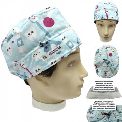 Unisex Dentist Cap Happy Teeth Unisex Short Hair With Towel On The Forehead And Adjustable With Elastic And Easy Tensioner