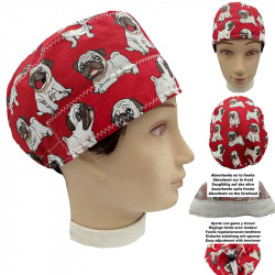 Operating Room Cap Unisex Pugs Short Hair Doctor Surgeon Dentist Veterinary Kitchen With Towel On Forehead, Adjustable